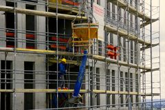 Construction of a concrete high-rise building. royalty free stock photo
