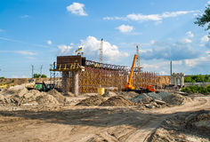 Construction of a concrete overpass Royalty Free Stock Image