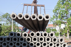 Construction concrete pole for home and house  Stock Photos