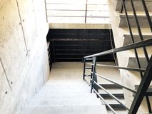 Construction of concrete stairs under construction works.  royalty free stock images