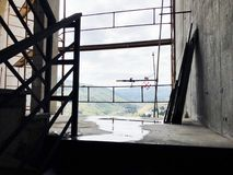 Construction of concrete stairs under construction works.  royalty free stock image