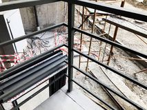 Construction of concrete stairs under construction works.  royalty free stock photography
