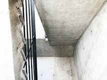 Construction of concrete stairs under construction works.  stock photo