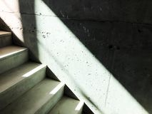 Construction of concrete stairs under construction works.  stock photography