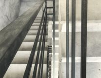 Entrance in a new building, steps, top view from the bottom. Construction of concrete stairs under construction works. Construction of concrete stairs under stock images
