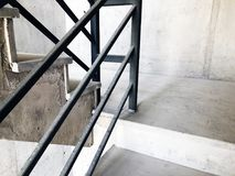 Construction of concrete stairs under construction works.  stock images