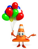 Construction Cone Character with balloons Stock Images