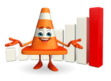 Construction Cone Character with business graph Royalty Free Stock Photography