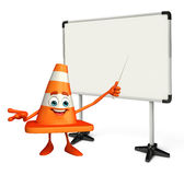 Construction Cone Character with display board Stock Photos