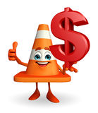 Construction Cone Character with dollar sign Royalty Free Stock Images