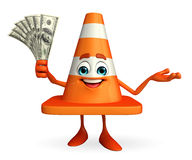 Construction Cone Character with dollars Stock Image