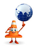 Construction Cone Character with globe Royalty Free Stock Images