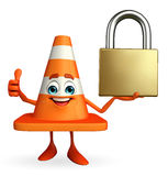 Construction Cone Character with lock Royalty Free Stock Images
