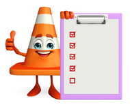Construction Cone Character with notepad Stock Image
