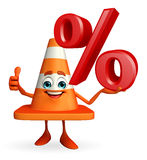 Construction Cone Character with percent sign Royalty Free Stock Image