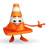 Construction Cone Character with pointing pose Royalty Free Stock Image