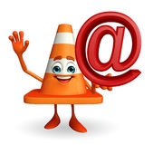 Construction Cone Character with at the rate sign Stock Photo
