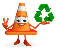 Construction Cone Character with recycle icon Royalty Free Stock Photos
