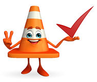 Construction Cone Character with right sign Royalty Free Stock Photos