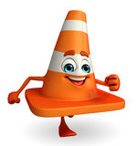 Construction Cone Character is running Stock Photo