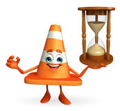 Construction Cone Character with sand clock Royalty Free Stock Photos