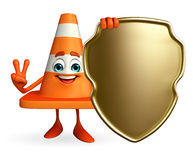 Construction Cone Character with shield Stock Photo