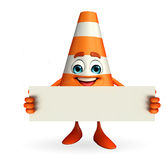 Construction Cone Character with sign Stock Photo
