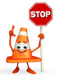 Construction Cone Character with stop sign Stock Photography