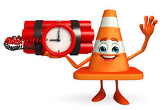 Construction Cone Character with time bomb Stock Photography