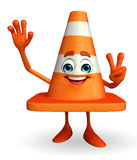 Construction Cone Character with victory sign Stock Image