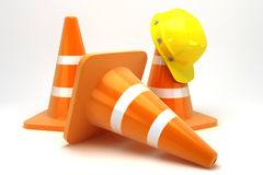 Construction Cone with Hard Hat. Illustration of 3d image of hard hat on construction cone Royalty Free Stock Photo