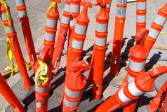 Construction Cones. A cluster of construction barrels along the street Stock Photography