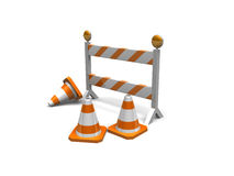 Construction cones and a barrier Stock Image