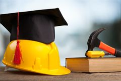 Construction. Education academic apprentice apprenticeship black business royalty free stock image