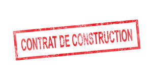 Construction contract in French translation in red rectangular s Royalty Free Stock Image