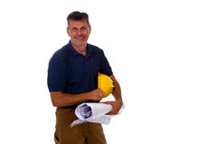 Construction Contractor Businessman on White Stock Image
