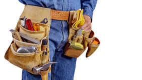 Construction contractor carpenter man with tools on white Royalty Free Stock Photography