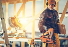Free Construction Contractor Worker With Nail Gun In His Hand Royalty Free Stock Photography - 214033247