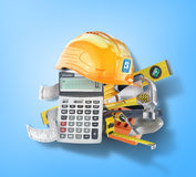 Construction costs concept. Construction tools near calculator with a check on a blue. 3d illustration Royalty Free Stock Photos