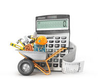 Construction costs concept. Construction tools in the wheelbarrow near calculator with a check. On a white. 3d illustration Stock Image