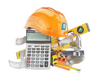 Construction costs concept. Construction tools near calculator with a check isolated on a white. 3d illustration Stock Image