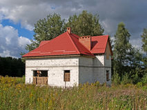 Construction of a cottage from gas-concrete blocks Stock Photos