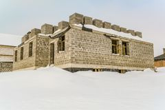 Construction of a country house stopped for the winter stock photos