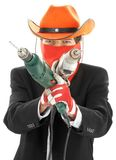 Construction cowboy. Man in corporate suit and cowboy hat with electric drills Stock Images