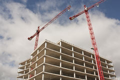 Construction,crane. This is a construction with two crane on horizontal Stock Images