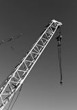 construction crane in black and white. Stock Photo