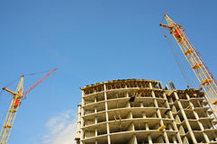 Construction crane and building royalty free stock photo
