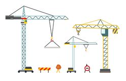 Construction crane. Building equipment in flat style. Vector illustration isolated on white background. Construction crane. Building equipment in flat style vector illustration