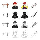 Construction crane, chief, architect, foreman,dividers. Architecture set collection icons in cartoon black monochrome Royalty Free Stock Image