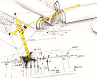 Construction crane in the drawings Stock Photos